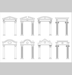 set of silhouettes of classic arches vector image