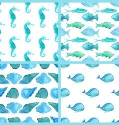 Set of watercolor marine boundless patterns vector