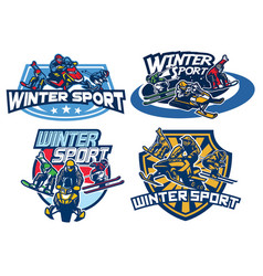 Set on winter games badge design vector