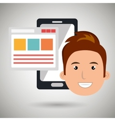 smartphone user with template isolated icon vector image vector image