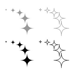 stars on track five items icon outline set grey vector image