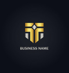 t sign company gold logo vector image