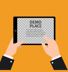 tablet in hand with transparent background vector image