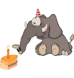 The elephant calf and a slice cake Cartoon vector image