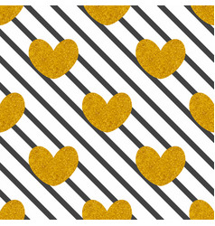 tile pattern with black stripes and golden hearts vector image