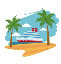 Travel cruise ship passenger sea beach palm design vector