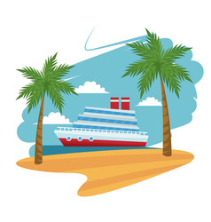 travel cruise ship passenger sea beach palm design vector image