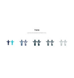 Twin icon in different style two colored and vector