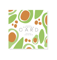 Vegetable card template green avocado with large vector
