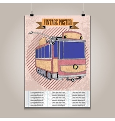 Vintage poster with high detail tram vector image