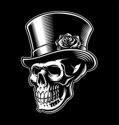 Vintage skull with hat vector