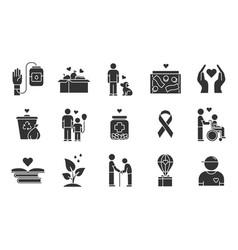 Volunteering glyph icons set reliance on vector