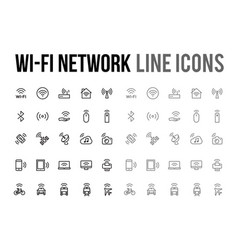 wifi network line icon for app mobile website vector image