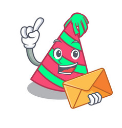 With envelope party hat character cartoon vector