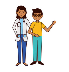 Woman doctor and boy vector