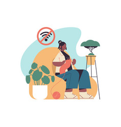 Woman knitting digital detox offline activities vector