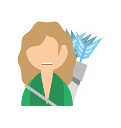 Woman with bow arrows vector