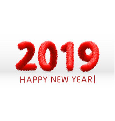 wooly red hairy shaggy wool 2019 happy new year vector image