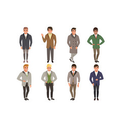 Young men wearing vintage clothing set retro vector