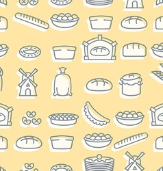 Baking seamless pattern signs set for fresh bakery vector image