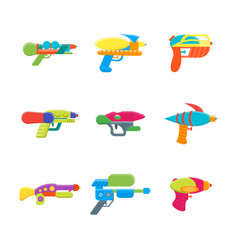 cartoon toy water guns color icons set vector image vector image