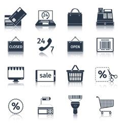 E-commerce icons set black vector image