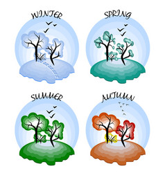 four seasons winter spring summer autumn vector image
