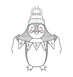 Funny hand drawn penguin cartoon with happy banner vector image