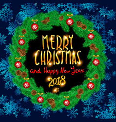 merry christmas and happy new year 2018 vintage vector image vector image