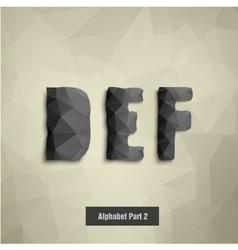 triangular dark alphabet D E F vector image