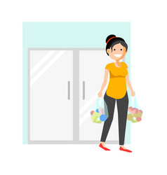 cheerful woman with buyings vector image vector image