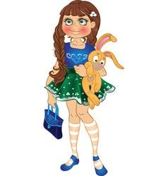 girl with yellow bunny and bag vector image vector image