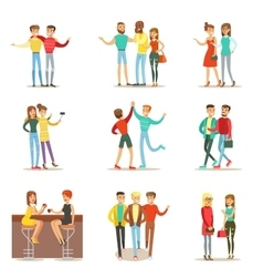 Happy Best Friends Having Good Time Together vector image