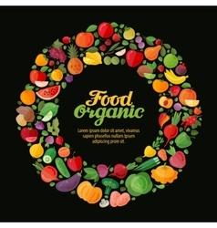 organic food collection fresh fruits and vector image