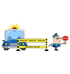 Police Line And Police Officer With Car vector image