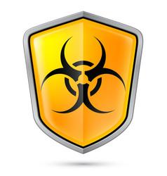 warning sign on shield indicating of biohazard vector image