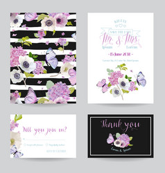 wedding invitation template set botanical card vector image
