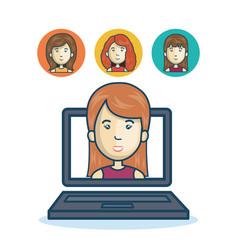 woman community online smartphone design vector image vector image