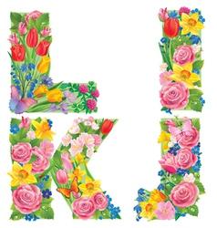 Alphabet of flowers IJKL vector image vector image