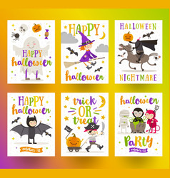 set of halloween holidays posters or greeting card vector image