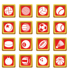 sport balls icons set red square vector image