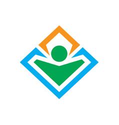 square human leader logo vector image