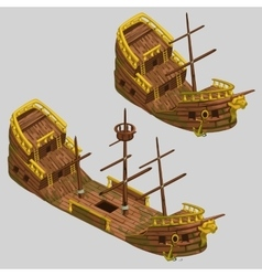Ancient pirate boat with two types vector image vector image
