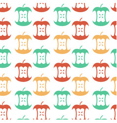 apple core seamless pattern fruit trash ornament vector image