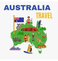 Australia Travel Map Poster vector image vector image