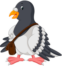 cartoon funny pigeon bird vector image