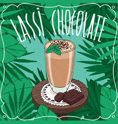 chocolate indian drink lassi with cocoa or cacao vector image vector image