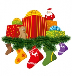 Christmas gifts with sock vector image vector image
