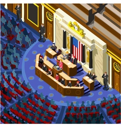 Election Infographic Congress Hall Us Isometric vector image