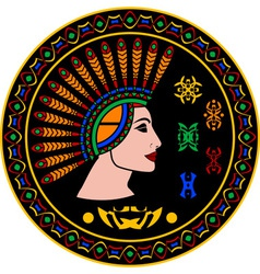 mayan woman and hieroglyphs vector image vector image